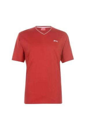 Slazenger T-Shirt με V λαιμοκοψη Κοκκινο