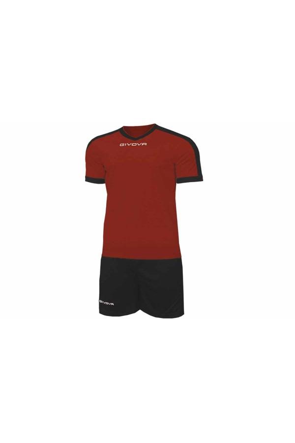 Kit Givova Revolution C59 0810 Εμφάνιση Ποδοσφαίρου μπορντο-μαυρο