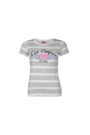 Lee Cooper T-Shirt-λευκο-γκρι